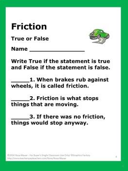 Friction Unit Task Cards