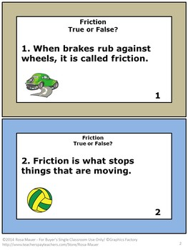 Friction Unit Task Cards