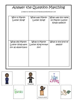 Learn about Martin Luther King. American history Answer the Question preschool.