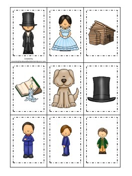 Learn about Abraham Lincoln. American history Memory Matching preschool.