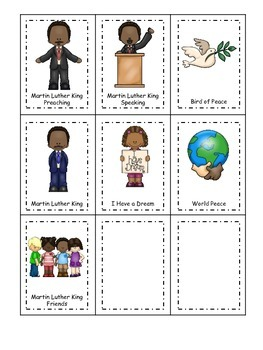 Learn about Martin Luther King. American history Three Part Matching preschool.