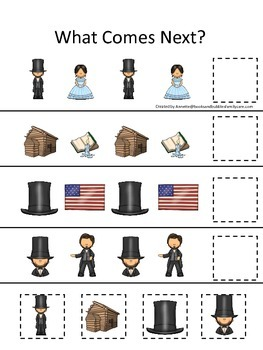 Learn about Abraham Lincoln. American history What Comes Next preschool.