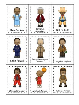 Learn about Notable African American Men. American history Three Part Matching.