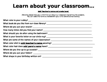Learn about your classroom!