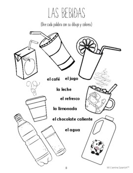 Spanish Food Vocabulary! - 11 fun worksheets! (Book 1, Lesson 8)