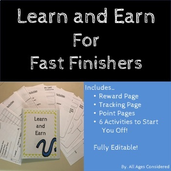 Learn and Earn Binder: Fast Finishers and Student Motivation (Editable!)