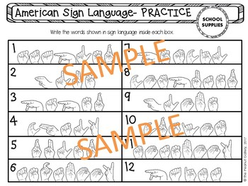 Learn and Practice Sign Language (School Supplies Theme)