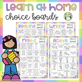 Learn at Home Choice Boards - Reading, Writing, Maths, Act