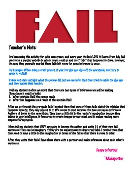 Learn from my Fail Inference Activity