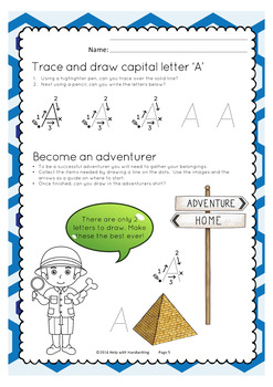 Learn how to write the letter A (Cursive style) and become an adventurer