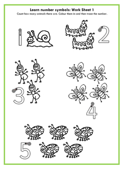 Learn number symbols for pre-schoolers: Work sheet 1