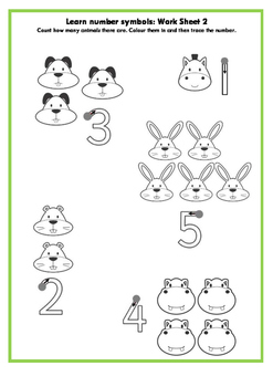 Learn number symbols for pre-schoolers: Work sheet 2