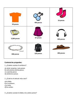 Learn numbers 100-1,000,000 in spanish worksheet
