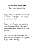 Learn short vowel sound card matching activitiy