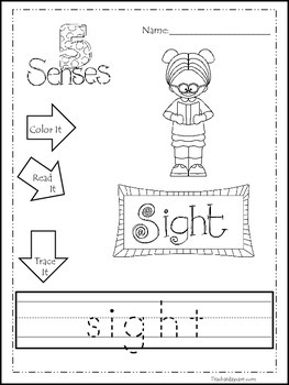 Learn the 5 Senses Printable Color It, Read It, Trace It Worksheets.