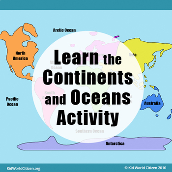 Learn the continents and oceans geography map activity by kid learn the continents and oceans geography map activity gumiabroncs Images