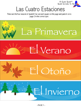 Learn the Days & Seasons in Spanish! (Cut & Paste Activity)