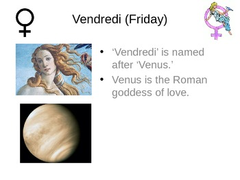 French Days of the week: PowerPoint explaining the Roman origin of each day