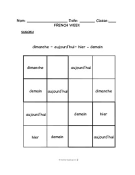 French Week WORKSHEETS