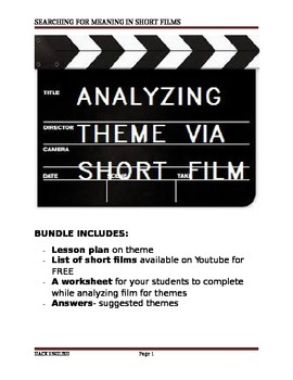Learn theme by analyzing short films on Youtube- Worksheet & Answers!