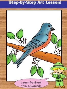 Learn to Draw a Bluebird!  Directed Drawing Lesson.