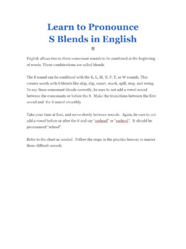 Learn to Pronounce S Blends in English