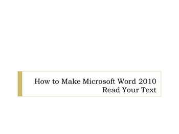 Learn to Proofread Aloud and Detect Writing Mistakes Using Word 2007 and 2010