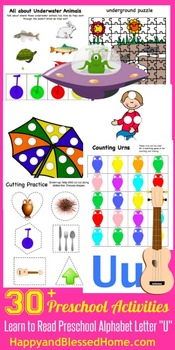 Learn to Read Letter U Activity Pack