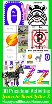 Learn to Read Letter Z Activity Pack