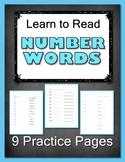 Learn to Read Number Words Worksheets - Set of Nine Worksheets