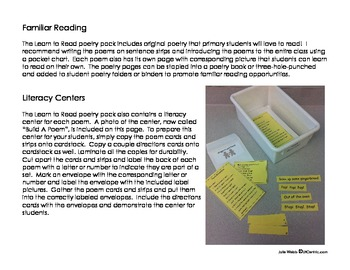 Learn to Read Poem Books and Literacy Centers