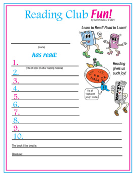 Learn to Read! Read to Learn! Reading Log and Certificate Set