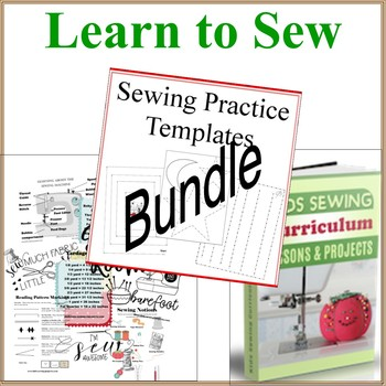 Learn to Sew Bundle Set- Sewing Curriculum, Lessons, Sewing Posters and Practice