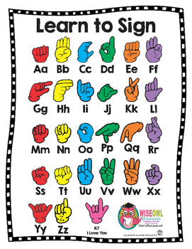 Learn to Sign Chart + Coloring Sheet - American Sign Language (ASL)