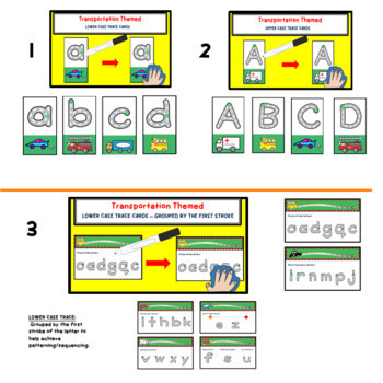 Learn to Write ABC's Transportation  Handwriting Task Cards for Pencil Box