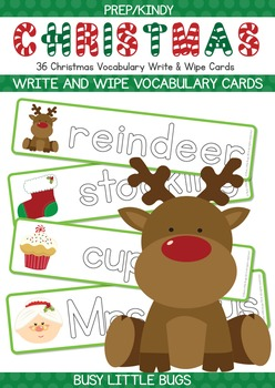 Learn to Write Christmas Words - Christmas Vocabulary Write & Wipe Cards