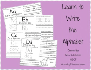 Learn to Write the Alphabet Activity Worksheet Packet by ...