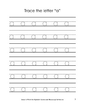 Learn to Write the Alphabet: Lowercase Manuscript Letters a-z
