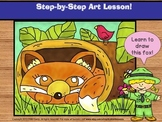 Directed Drawing. Learn to draw a fox - step-by-step art lesson.
