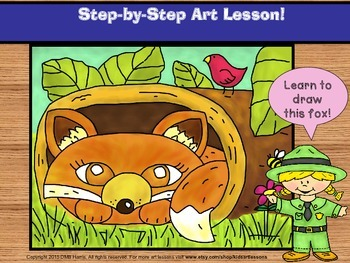Learn to draw a fox  - step-by-step art lesson.