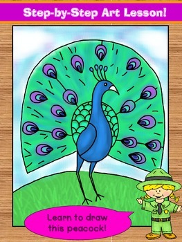 Learn to draw a peacock!  Step-by-step art lesson.