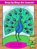 Directed Drawing. Learn to draw a peacock!  Step-by-step art lesson.