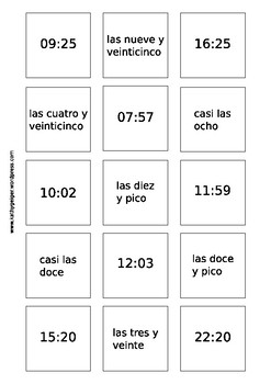 Learn to say the time in Spanish - cardgame - level A1