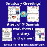 Saludos Greetings Spanish Lesson! 9 worksheets of activities, games, &story!