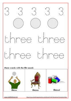 Learn to write number symbols and names: Work sheet 1