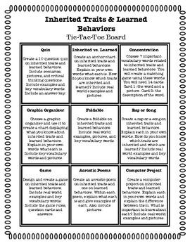 Learned Behavior and Traits: Choice Board