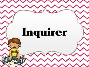 Learner Profile- Art, Pink Chevron, IB PYP