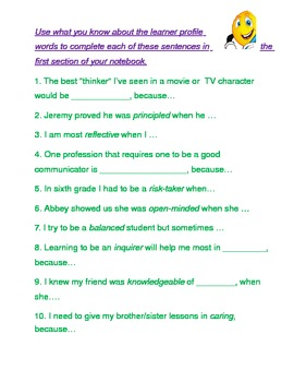 Learner Profile Follow-up: Beginning of Year Vocabulary for High Expectations