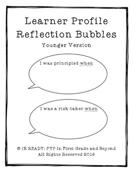 Learner Profile Reflection Bubbles for Younger Learners