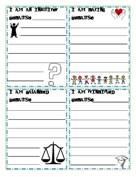 Learner Profile Trait Reflection Slips (IB: International Baccalaureate)
